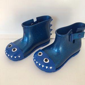Mini Melissa Girls blue glitter rain boots 10 new